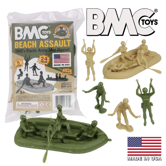 BMC Marx Plastic Army Men BEACH ASSAULT - Green vs Tan 24pc WW2 US Soldiers - Made in USA