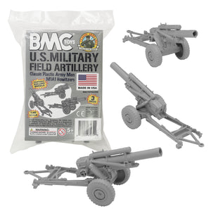 BMC Classic Marx US Military HOWITZERS - Gray 3pc Plastic Army Men Field Artillery