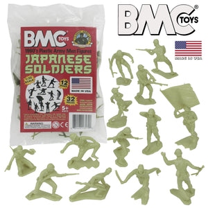 BMC Classic Marx Japanese Plastic Army Men - Khaki-Green 32pc WW2 Soldier Figures - Made in USA