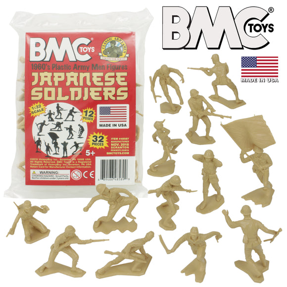 BMC Classic Marx Japanese Plastic Army Men - 32pc WW2 Soldier Figures - Made in USA