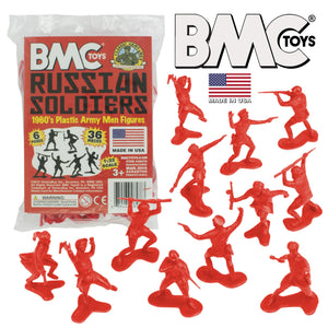 BMC Classic Marx Russian Plastic Army Men - Red 36pc WW2 Soldier Figures - Made in USA