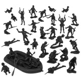 BMC Marx Plastic Army Men US Soldiers - Black 31pc WW2 Figures - Made in USA
