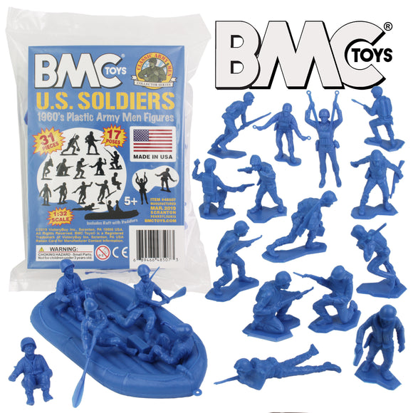 BMC Marx Plastic Army Men US Soldiers - Blue 31pc WW2 Figures - Made in USA