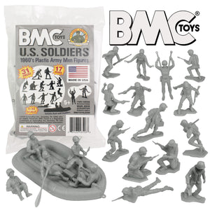 BMC Marx Plastic Army Men US Soldiers - Gray 31pc WW2 Figures - Made in USA