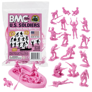 BMC Marx Plastic Army Men US Soldiers - Pink 31pc WW2 Figures - Made in USA