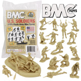 BMC Marx Plastic Army Men US Soldiers - Tan 31pc WW2 Figures - Made in USA
