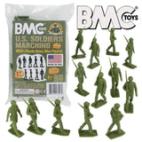 BMC Marx Plastic Army Men Marching US Soldiers - OD Green 27pc WW2 Figures - Made in USA