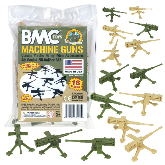 BMC Classic MPC MACHINE GUNS - 16 Tan & Green Army Men Accessories - Made in USA