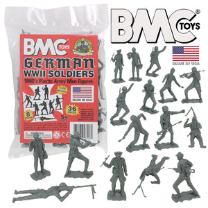BMC Classic MPC German Plastic Army Men - 36pc WW2 Soldier Figures - Made in USA
