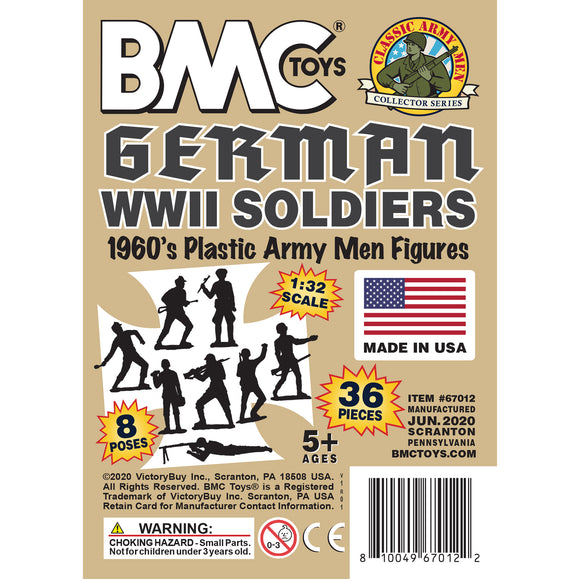 BMC Classic MPC German Plastic Army Men - Tan 36pc WW2 Soldier Figures - Made in USA