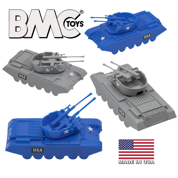 BMC Classic Payton Anti-Aircraft Tanks - 4pc Blue vs. Gray Plastic Army Men Vehicles - US Made