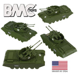 BMC Classic Payton Anti-Aircraft Tanks - 4pc OD Green Plastic Army Men Vehicles - US Made