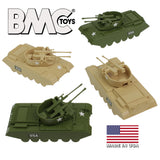 BMC Classic Payton Anti-Aircraft Tanks - 4pc Tan vs. Green Plastic Army Men Vehicles - US Made