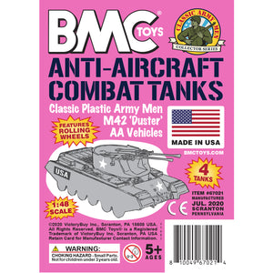BMC Classic Payton Anti-Aircraft Tanks - 4pc Pink Plastic Army Men Vehicles - US Made