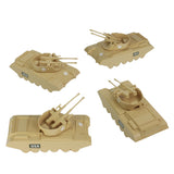 BMC Classic Payton Anti-Aircraft Tanks - 4pc Tan Plastic Army Men Vehicles - US Made