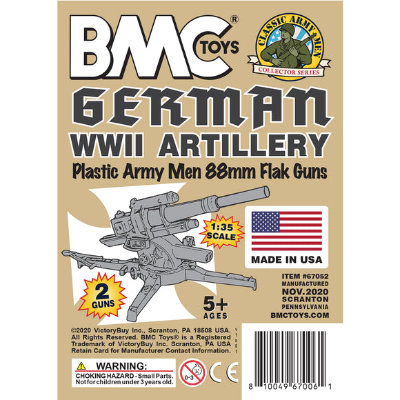 BMC Classic WW2 German 88mm Artillery - 2pc Tan PLASTIC ARMY MEN Accessories