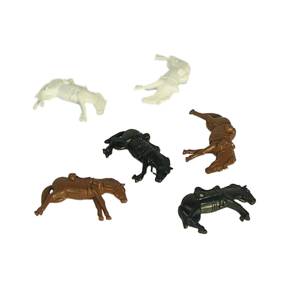 BMC Downed Horses: 6 Piece Set of Brown, White, & Black 54mm Horse Figures 1:32