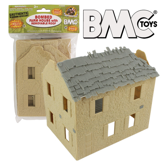 BMC WW2 Bombed French Farm House - Plastic Army Men Playset Accessory