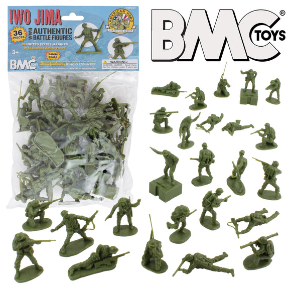 BMC WW2 Iwo Jima US Marines Plastic Army Men - 36 American Soldier Figures