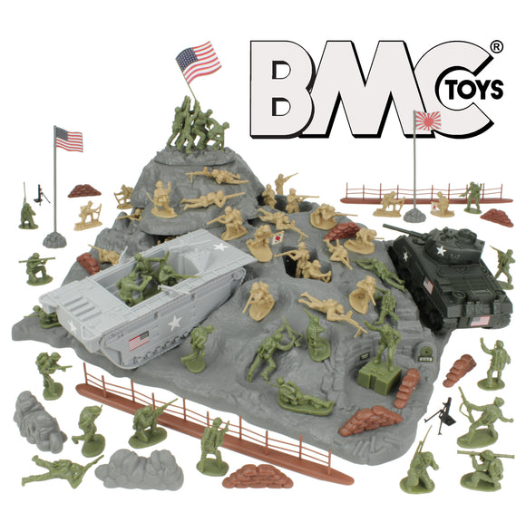 BMC WW2 Iwo Jima Plastic Army Men - Island, Tanks & Soldiers 72pc Playset