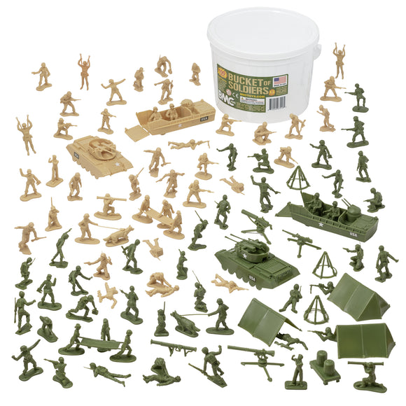 BMC BUCKET of PLASTIC ARMY PEOPLE - Tan vs Green 100pc Soldier Playset - Made in USA