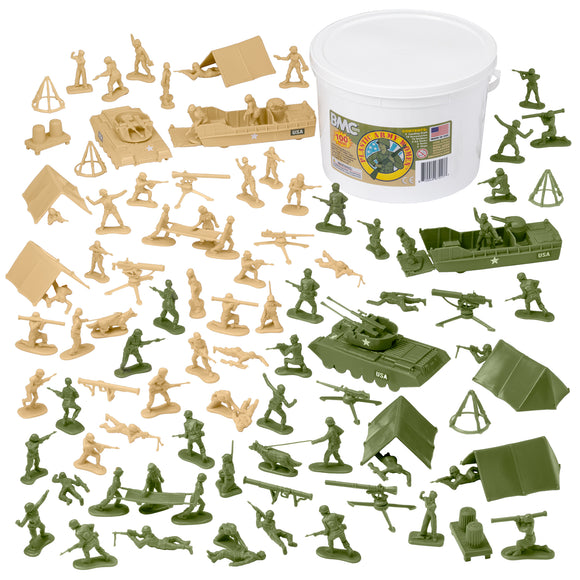 BMC BUCKET of PLASTIC ARMY WOMEN: Tan vs Green 100pc Soldier Playset - Made in USA