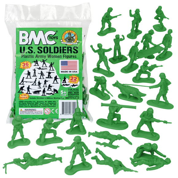 BMC PLASTIC ARMY WOMEN - Green 36pc Female Soldier Figures - Made in USA