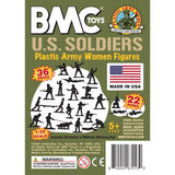 BMC PLASTIC ARMY WOMEN - OD Green 36pc Female Soldier Figures - Made in USA