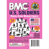 BMC PLASTIC ARMY WOMEN - Pink 36pc Female Soldier Figures - Made in USA