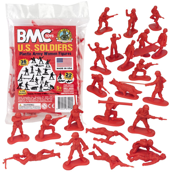 BMC PLASTIC ARMY WOMEN - Red 36pc Female Soldier Figures - Made in USA