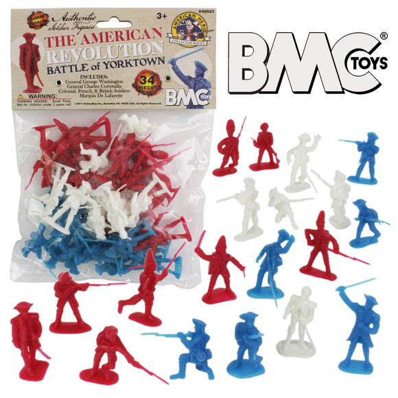 BMC Revolutionary War Plastic Army Men - 34 British, American, French Soldiers