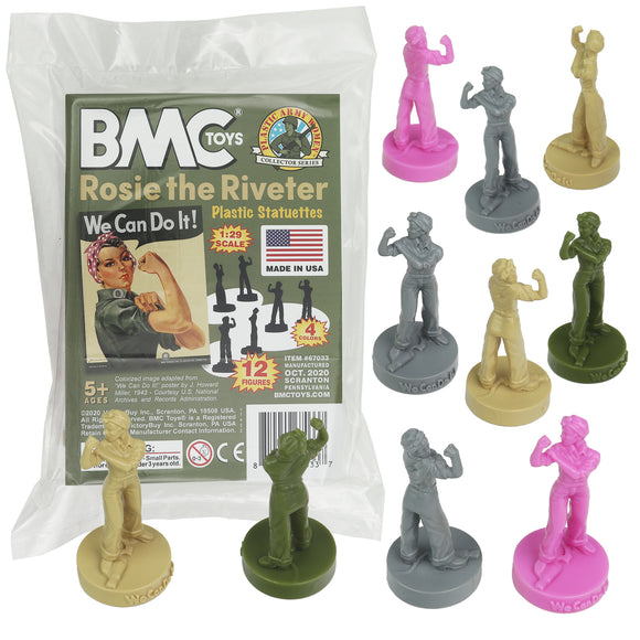 BMC ROSIE the RIVETER Plastic Figures - 12pc Army Toy Color Statues
