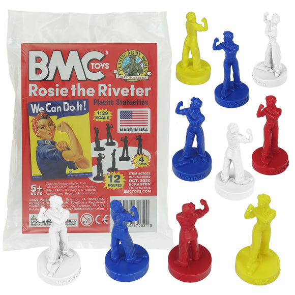 BMC ROSIE the RIVETER Plastic Figures - 12pc Patriotic Poster Color Statues