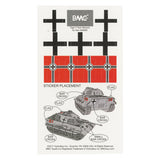 BMC WW2 German King Tiger Tank Sticker Sheets for 1:32 Military Vehicle - Ships Free