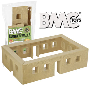 BMC WW2 Blockhouse Bunker Walls - Tan Plastic Army Men Playset Building Accessory
