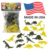 TimMee Plastic DINOSAUR Figures: Green & Yellow 48pc Dino Set - Made in USA