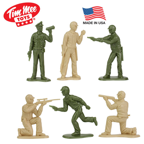 Tim Mee Toy SWAT Plastic Army Men - 24 Tan & Olive Green Police Figures - Made in USA