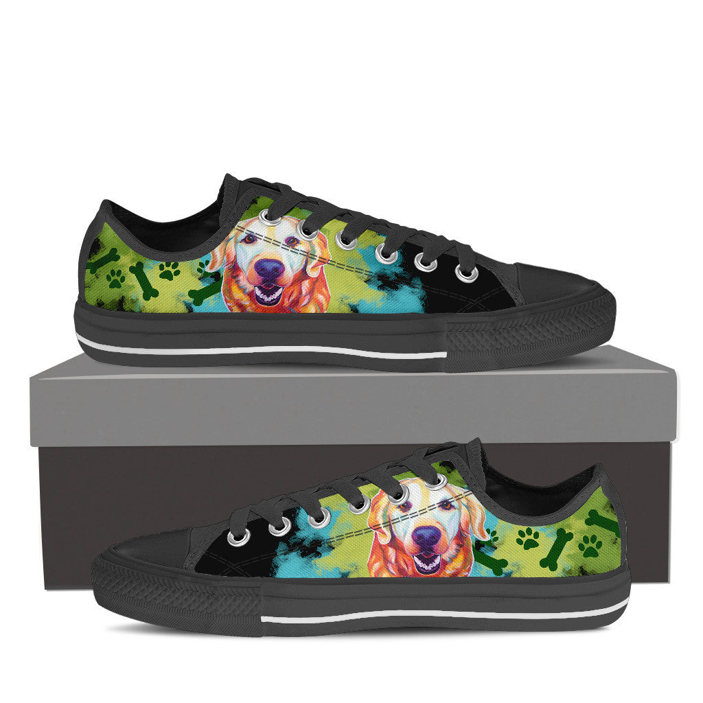 Golden Retriever Low Tops (Black)