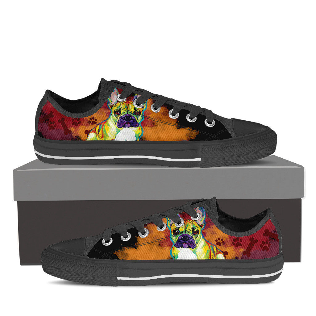 French Bulldog Low Tops (Black)