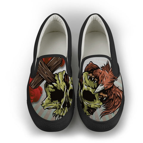 Eagle Cross Skull Slip-On Shoes