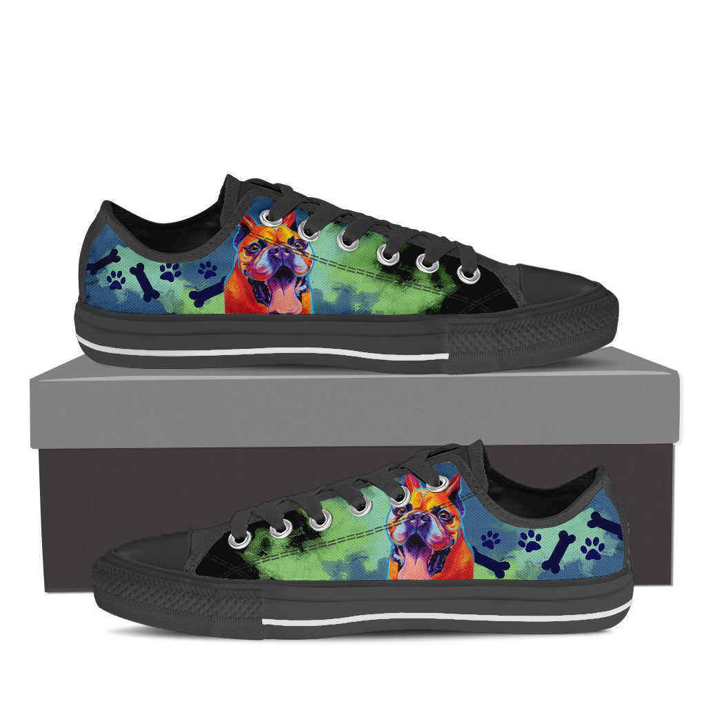 French Bulldog II Low Tops (Black)
