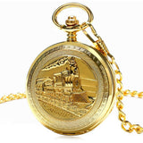 Golden Train Mechanical Pocket Watch