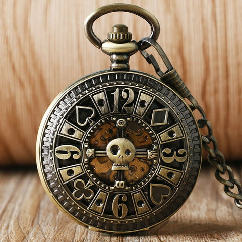 Steampunk Poker Mechanical Pocket Watch