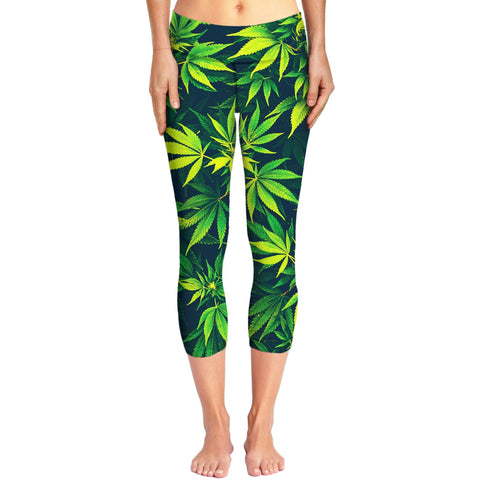 Weed Capri Yoga Pants
