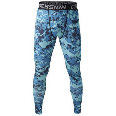 Men's Compression Workout Pants (Blue Camo) - TEETERNAL - 1
