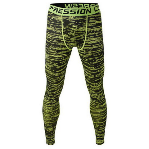Men's Compression Workout Pants (Green Black) - TEETERNAL - 1