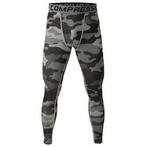 Men's Compression Workout Pants (Green Camo) - TEETERNAL - 1