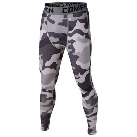 Men's Compression Workout Pants (Grey Camo) - TEETERNAL - 1