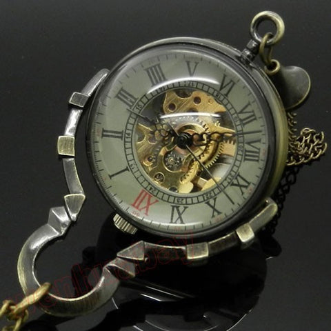 Glass Mechanical Pocket Watch