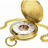 Golden Train Mechanical Pocket Watch | TEETERNAL - 3